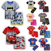 Kids Superhero Characters Short Pajamas Set Boys Batman Nigthwear Sleepwear Pjs