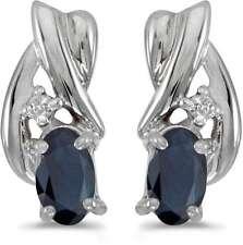 10k White Gold Oval Sapphire & Diamond Earrings E1861W-09