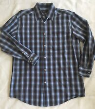 Zanella Mens Plaid Button Front Shirt Medium Made In Italy Blue Brown