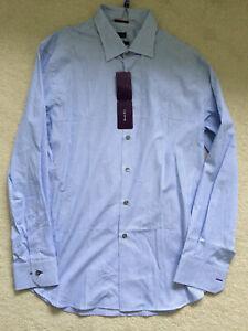 """Paul Smith LONDON LS blue stripe  Shirt  Size 17.5 / 44 SLIM fit  p2p 23"""""""