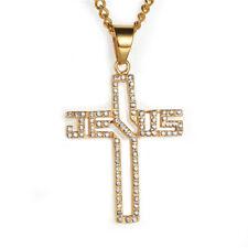 Men's 18k Gold Chain Jesus Cross Pendant Necklace Statement Jewelry