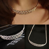 Women Jewelry Crystal Chain Choker Chunky Statement Bib Pendant Chain Necklace