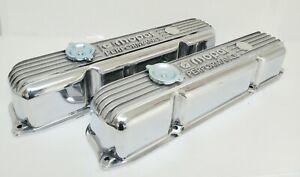 NOS Mopar 383 400 440 Polished Cast Aluminum Valve Covers, W/ Twist in Oil Cap