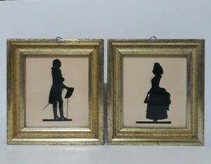 Vintage Pair Original Borghese Gold/Gilt Framed Silhouette Picture Man & Woman