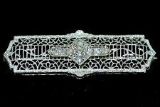Antique Circa 1920 Art Deco? Diamond 14k White Gold Pin Broach RARE Vintage