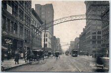 Columbus, Ohio Postcard HIGH STREET Downtown Scene Horses Arches 1908 Cancel