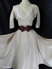 1940s True Vintage Party DRESS~Champagne/Taupe PROM GOWN xFULL SKIRT~37B 28W