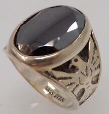 925 STERLING SILVER OVAL HEMATITE SOLITAIRE RING SIZE 8.5 RT5