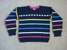 Baby Gap Toddler Kids Girls 4T Sweater Pullover Striped Heart Top Blue Cotton