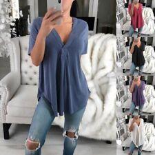 UK Womens Cold Shoulder Chiffon T-Shirt Ladies Summer Top Blouse Plus Size 12-26