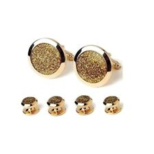 New Men's Diamond Dust Gold Wide Bezel Cuff links Studs Boxed Set