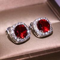 925 Silver Round Red Ruby Stud Earrings Crystal Zircon CZ Earring Garnet Jewelry