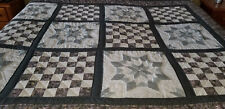 NEW HOMEMADE AMISH QUILT-9 PATCH CROSS STITCHED 106X112 Simply Gorgeous
