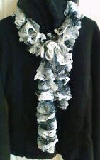 """Handmade Knitted 61"""" Scarf/ Sashay Yarn/ Black-Gray-White"""