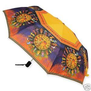 Laurel Burch Yellow Org Harmony Under The Sun Compact Umbrella Auto Open Close