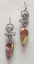 Twist Earrings Copper Silver Purple Mosaic Clay Handmade Pierced Dangle New Gift