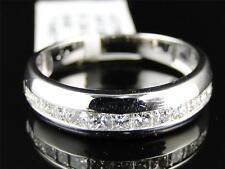 14K Mens White Gold Princess SI Diamond Invisible Wedding Band Ring 1 Ct