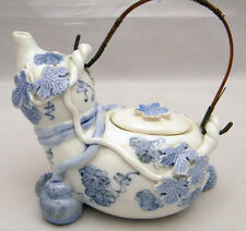 One of a kind Japanese HIRADO blue-and-white Teapot