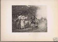 1892 The Miller his Son & Ass -Eugene Lejeune Art Print