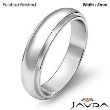 Men Wedding Solid Band Dome Step Down Matte Ring 5mm Platinum 10.4gm 11-11.75