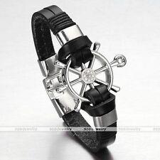 Fashion Men's Women's Genuine Leather Black Surfer Bracelets Rudder Cuff Bangle