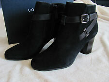 Cole Haan Niles Black Suede Leather Booties-Side Zip-Stacked Heel-Size 10M- $280