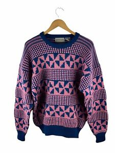 VINTAGE Britches Knit Jumper Mens Size L Blue Pink Long Sleeve 100% Wool Crazy