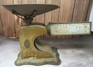 Antique PELOUZE Calculating Scale Patented 1915 Brass Original Pan Chicago, ILL