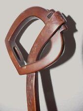 1860-70 Parasol Umbrella Frame with Carved Wood Equestrian Stirrup Handle