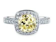Cubic Zirconia Halo Ring Sterling Silver Aaaa Canary Yellow