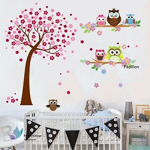 Pink Cherry Tree Flower Cute Owls  Nursery Baby Girl Removable wall  sticker