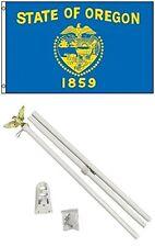 2x3 2'x3' State of Oregon Flag White Pole Kit Set