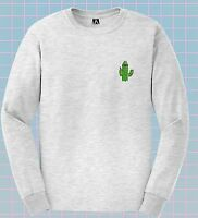 Cactus Finger Long Sleve T-shirt Deal With It Funny Tee Hipster Tumblr Sk8er Top
