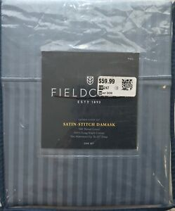 FIELDCREST SATIN-STITCH DAMASK SATEEN SHEET SET 500 TC BLUE NIP