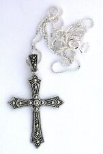 """1 2/3 Inch VINTAGE Sterling Silver Marcasite Cross Pendant 18"""" Box Chain PSP14"""