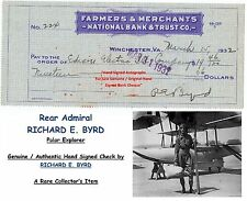 Rear Admiral  RICHARD E. BYRD    Explorer   SIGNED BANK CHEQUE  1932   RARE ITEM