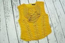 BALMAIN H&M Yellow Gold Braided Rope Sleeveless Blouse Top  UK12 US8 8 EU38 38