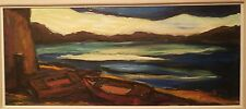 "Mountain Lake with Row Boats-12"" x 27"" Oil Painting-1965-Maxim Bugzester"