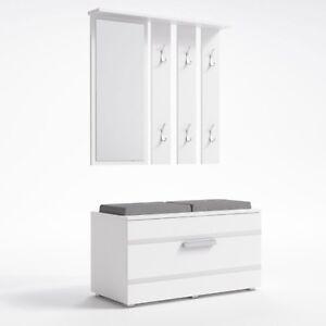 Garderobe Wandgarderobe Flurgarderobe Paneel Spiegel Schrank kommode weiß modern