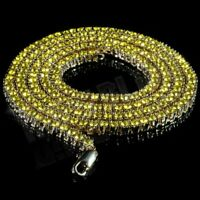 14k Gold Yellow Canary Lemonade CZ Flooded Out Iced 1 Row Tennis Chain Necklace