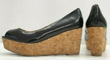 ladies womens NEXT black patent wedge peeptoe shoes size 5 EU 38
