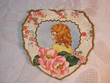 Heart Shaped Valentine With Girl And Flowers Whitney Made Vintage Card T*