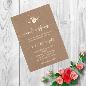 Personalised Handmade Wedding Invitations Invites Day Evening Vintage x 50 AWI8