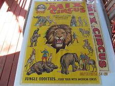 TOM MIX CIRCUS ONE SHEET POSTER 1930s ORIG. JUNGLE ODDITIES 1ST TOUR AM. CIRCUS