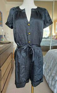 DIANE VON FURSTENBURG DVF black playsuit romper silk cap sleeve buttons size 6