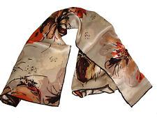 "Women's 100% Satin Silk Scarf / Light Brown / Floral / 34"" X 34"""