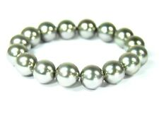 Bello Bracciale in Perle di Conchiglia Forma a Sfera Ø-12 Mm Color Argento
