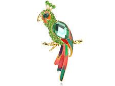 Lady Peridot Green Diamante Rhinestone Beaded Parrot Bird Jewelry Brooch Pin