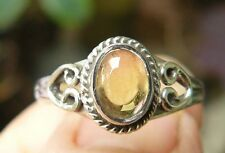 Citrine Sterling Ring Sweet Natural Gemstone oval shapeClear Yellow Size 7.5