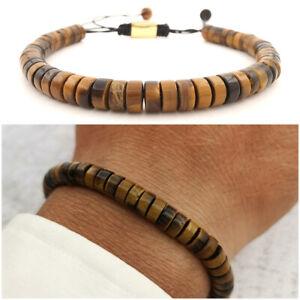 Bracciale da uomo con pietre dure naturali in pietr occhio di tigre braccialetto